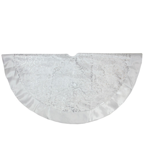 "48"" Silver Metallic Filigree Christmas Tree Skirt with Sateen Bows - IMAGE 1"
