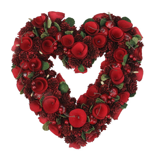 Red Wooden Rose and Pine Cone Valentine's Day Heart Wreath, 13.75-Inch, Unlit - IMAGE 1