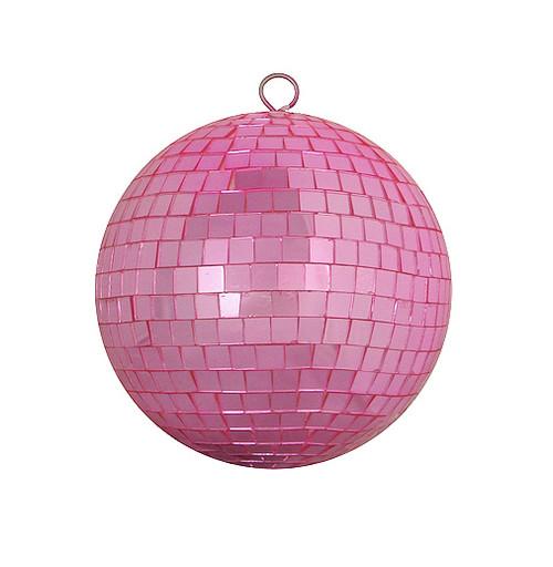 "Bubblegum Pink Mirrored Glass Disco Ball Christmas Ornament 8"" (200mm) - IMAGE 1"