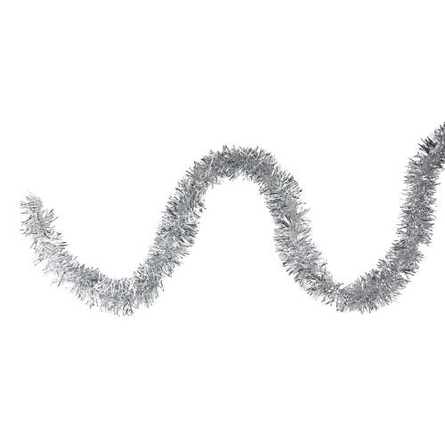 "50' x 2.25"" Silver Tinsel Artificial Christmas Garland - Unlit - IMAGE 1"