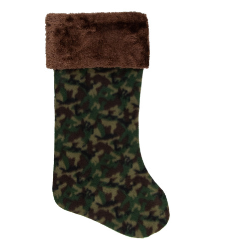 """19"""" Brown and Green Camouflage Christmas Stocking with Brown Cuff - IMAGE 1"""