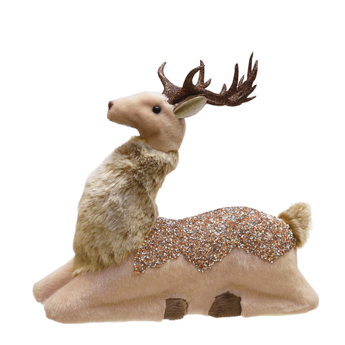 "9.5"" Beige and Brown Sitting Deer Christmas Tabletop Decor - IMAGE 1"