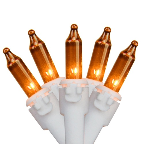 35-Count Orange Mini Christmas Light Set, 7ft White Wire - IMAGE 1