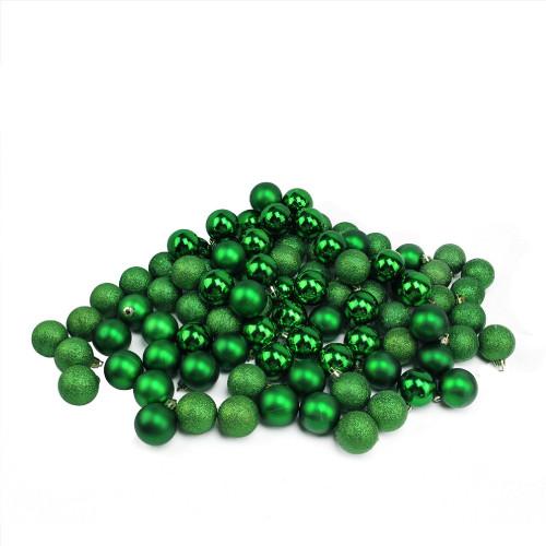 "96ct Xmas Green Shatterproof 4-Finish Christmas Ball Ornaments 1.5"" (40mm) - IMAGE 1"
