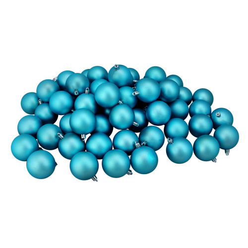 """60ct Turquoise Blue Shatterproof Matte Christmas Ball Ornaments 2.5"""" (60mm) - IMAGE 1"""