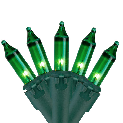 50-Count Green Mini Christmas Light Set, 10ft Green Wire - IMAGE 1