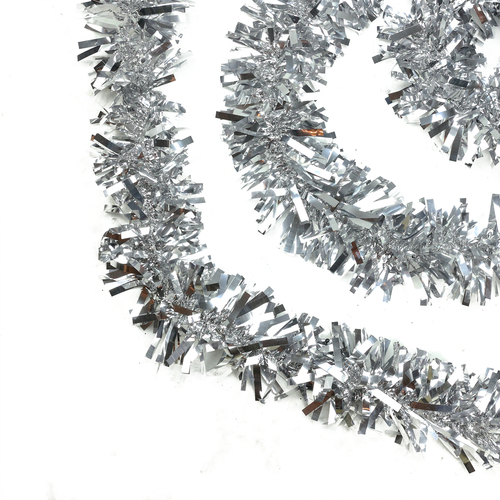 50' Shiny Silver Wide Cut Christmas Tinsel Garland - Unlit - IMAGE 1