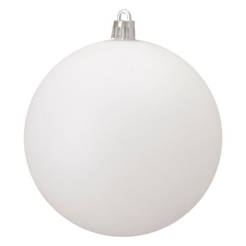 "Matte Winter White Shatterproof Christmas Ball Ornament 4"" (100mm) - IMAGE 1"