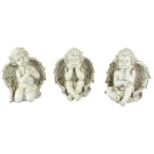 "Set of 3 Gray Sitting Cherub Angel Outdoor Garden Statues 11"" - IMAGE 1"