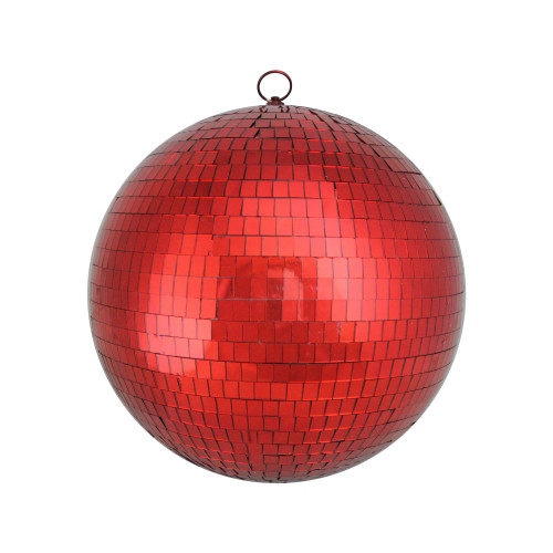 """Mirrored Disco Red Glass Christmas Ball Ornament 12"""" (300mm) - IMAGE 1"""