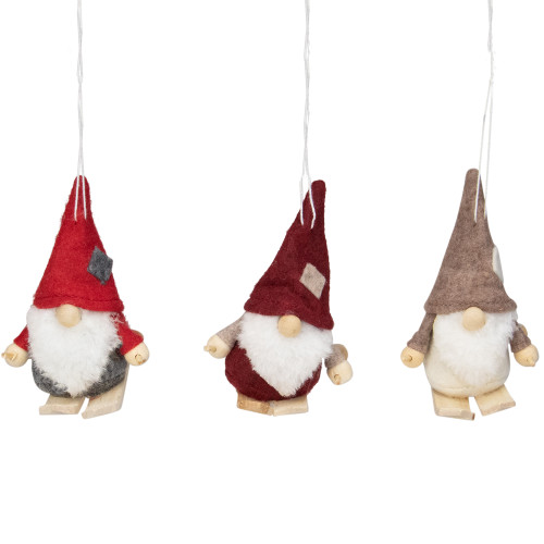 """Set of 3 Red and Gray Skiing Gnome Christmas Ornaments 4"""" - IMAGE 1"""