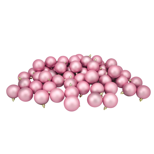 "60ct Bubblegum Pink Shatterproof Matte Christmas Ball Ornaments 2.5"" (60mm) - IMAGE 1"