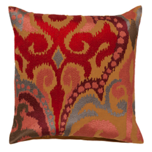 "20"" Red and Brown Embroidered Square Throw Pillow - IMAGE 1"