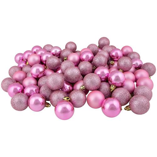 "96ct Bubblegum Pink Shatterproof 4-Finish Christmas Ball Ornaments 1.5"" (40mm) - IMAGE 1"