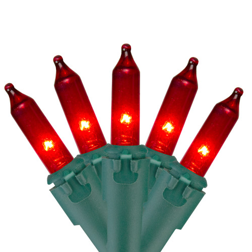 50 Red Mini Outdoor Christmas String Lights - 10 ft Green Wire - IMAGE 1