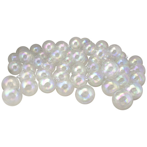 """60ct Clear Iridescent Shatterproof Shiny Christmas Ball Ornaments 2.5"""" (60mm) - IMAGE 1"""