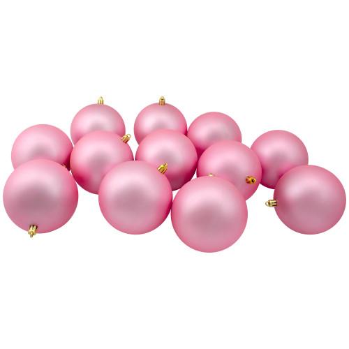 "12ct Matte Bubblegum Pink Shatterproof Christmas Ball Ornaments 4"" (100mm) - IMAGE 1"