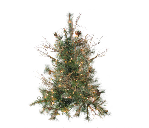 2' Pre-Lit Country Mixed Pine Artificial Christmas Wall Tree - Clear Lights - IMAGE 1
