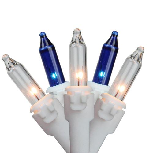 """Set of 100 Blue & Clear Mini Christmas Lights 2.5"""" Spacing - White Wire - IMAGE 1"""