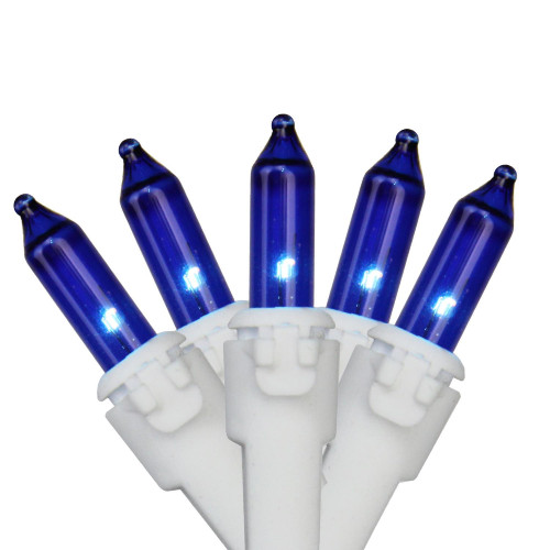 35-Count Blue Mini Christmas Light Set, 7ft White Wire - IMAGE 1