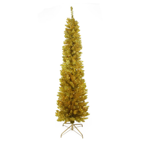 6' Pre-Lit Gold Pencil Artificial Christmas Tree - Clear Lights - IMAGE 1