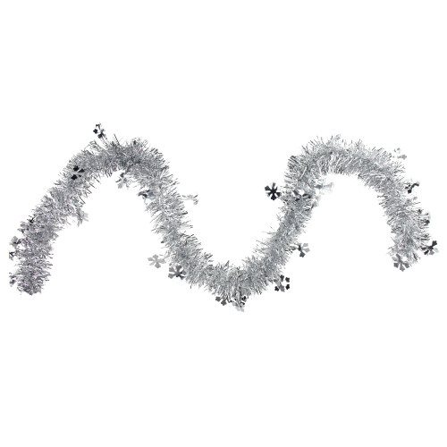 """50"""" x 2.75' Silver Snowflakes Tinsel Artificial Christmas Garland - Unlit - IMAGE 1"""