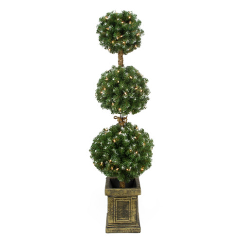 4.5' Pre-Lit Frosted Triple Ball Artificial Topiary Tree in Decorative Pot - Clear Lights - IMAGE 1