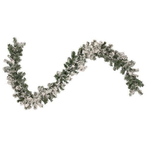 "9' x 10"" Flocked Pine Artificial Christmas Garland - Unlit - IMAGE 1"