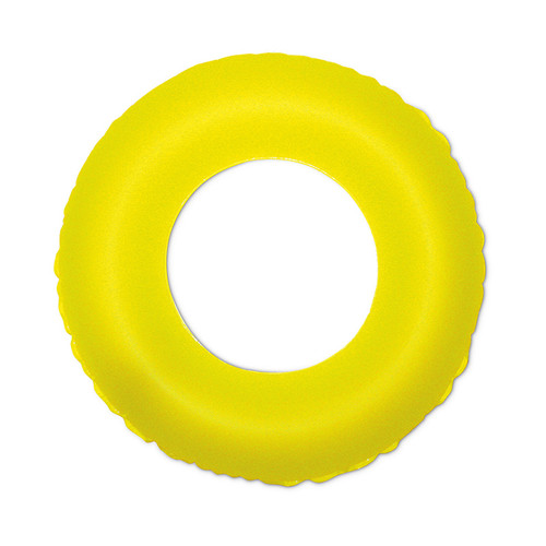 Inflatable Neon Yellow Swimming Pool Inner Tube Float, 35-Inch - IMAGE 1