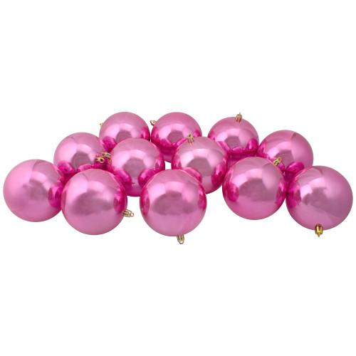 "12ct Bubblegum Pink Shatterproof Shiny Christmas Ball Ornaments 4"" (100mm) - IMAGE 1"