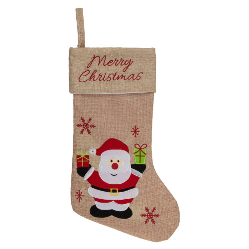 """19"""" Beige and Red Santa Claus Embroidered Christmas Stocking - IMAGE 1"""