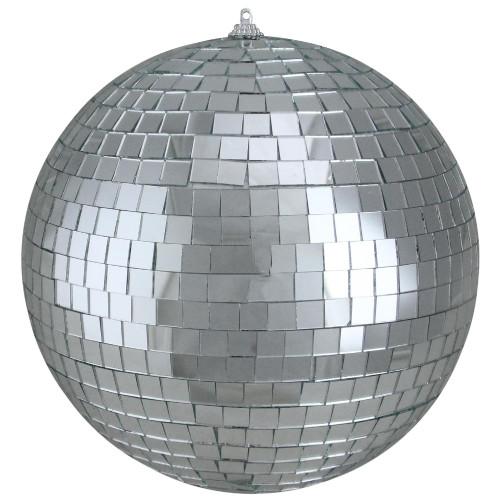 "Silver Splendor Mirrored Glass Disco Ball Christmas Ornament 6"" (150mm) - IMAGE 1"