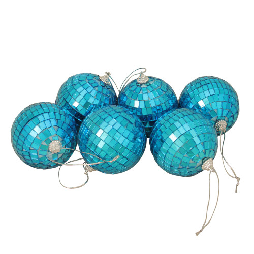 """6ct Peacock Blue Mirrored Glass Disco Ball Christmas Ornaments 3.25"""" 80mm - IMAGE 1"""