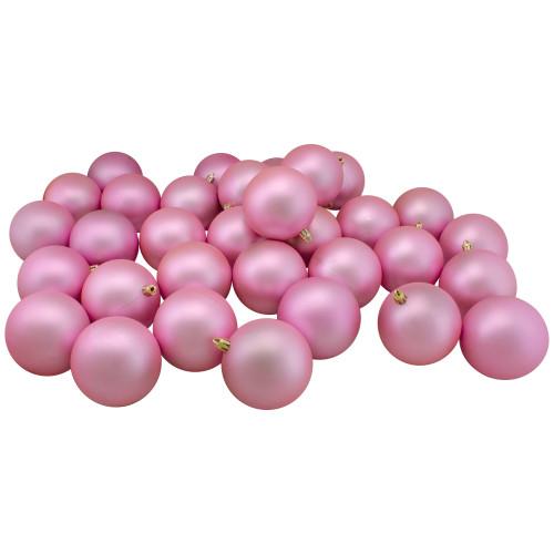 "32ct Bubblegum Pink Shatterproof Matte Christmas Ball Ornaments 3.25"" (80mm) - IMAGE 1"