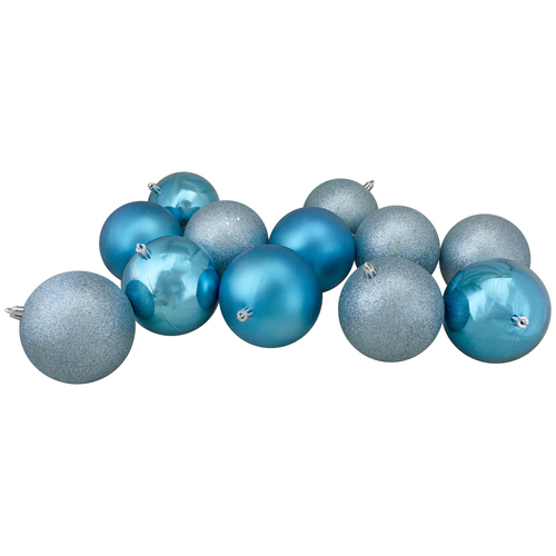 """32ct Turquoise Blue Shatterproof 4-Finish Christmas Ball Ornaments 3.25"""" (80mm) - IMAGE 1"""