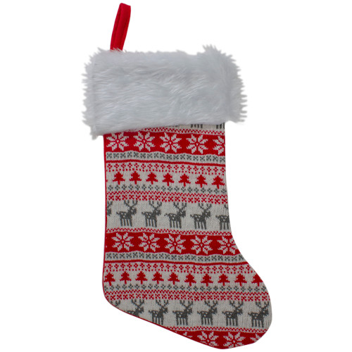 """19"""" Red and White Tree, Deer and Snowflake Knit Christmas Stocking with Faux Fur Cuff - IMAGE 1"""