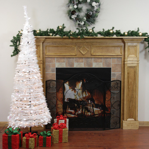 6' Pre-Lit Slim Tinsel Artificial Christmas Tree - Clear Lights - IMAGE 1