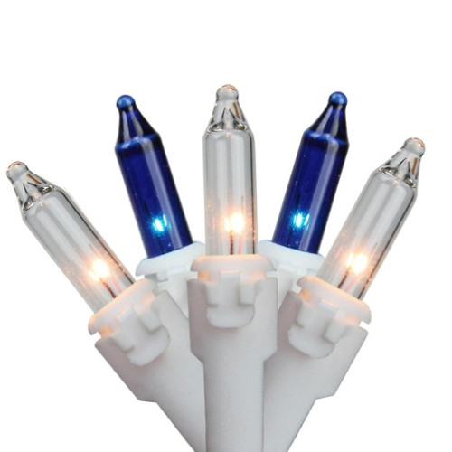"""Set of 150 Blue & Clear Mini Icicle Christmas Lights 3"""" Spacing - White Wire - IMAGE 1"""