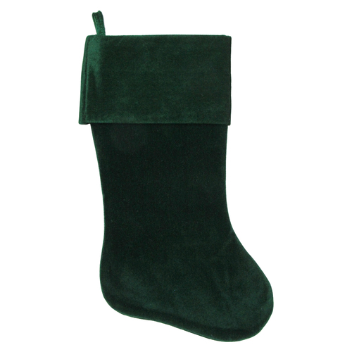 "18"" Traditional Solid Green Velvet Hanging Christmas Stocking - IMAGE 1"