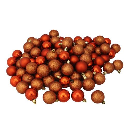 "96ct Burnt Orange Shatterproof 4-Finish Christmas Ball Ornaments 1.5"" (40mm) - IMAGE 1"