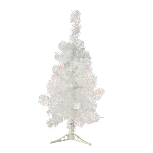 2' Pre-Lit Slim Tinsel Artificial Christmas Tree- Clear Lights - IMAGE 1