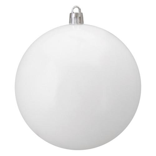 "Shiny White Shatterproof Christmas Ball Ornament 4"" (100mm) - IMAGE 1"