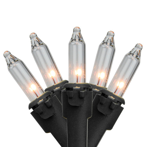 35-Count Clear Mini Christmas Light Set, 7ft Black Wire - IMAGE 1