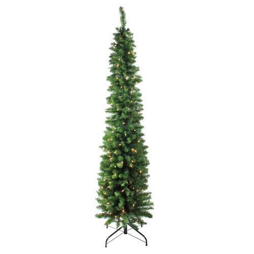 "6' x 20"" Pre-Lit Traditional Green Pine Pencil Artificial Christmas Tree - Clear Lights - IMAGE 1"