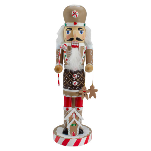 """14"""" Beige and Red Wooden Christmas Nutcracker Gingerbread Chef - IMAGE 1"""