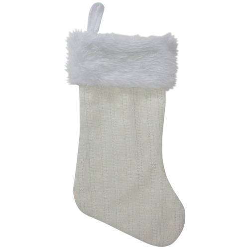 "19"" Cream Cable Knit With White Faux Fur Cuff Christmas Stocking - IMAGE 1"