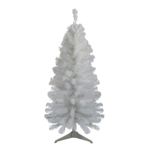 4' Slim White Tinsel Artificial Christmas Tree - Unlit - IMAGE 1