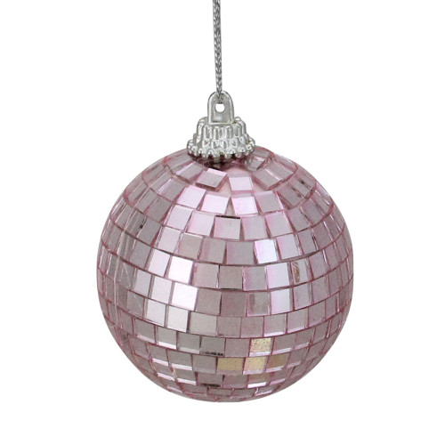 "9ct Bubblegum Pink Mirrored Glass Disco Ball Christmas Ornaments 2.5"" (60mm) - IMAGE 1"