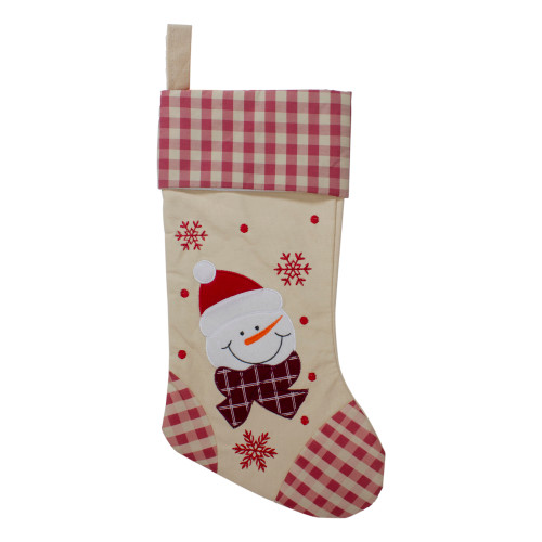 """17"""" Red and Beige Burlap Embroidered Snowman Christmas Stocking with Red Gingham Cuff - IMAGE 1"""