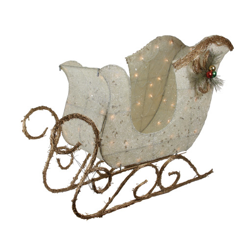 """39"""" Ivory and Brown Sisal Sleigh Outdoor Christmas Decoration - IMAGE 1"""